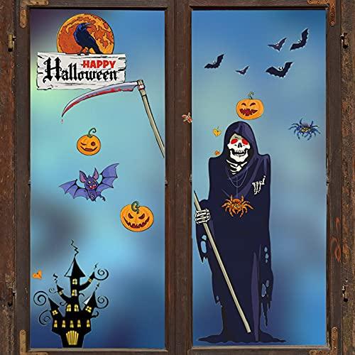 Pegatina para ventana de Halloween, calabaza y cráneo,...