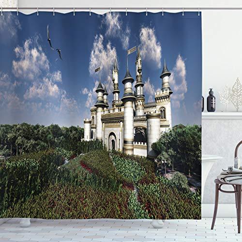 ABAKUHAUS Märchen Duschvorhang, Eagles & eine Burg, mit 12 Ringe Set Wasserdicht Stielvoll Modern Farbfest & Schimmel Resistent, 175x220 cm, Mehrfarbig