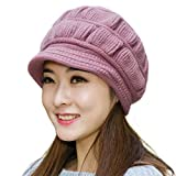 Muryobao Winter Hat Crochet Knit Slouchy Beanie Cap Outdoor Warm Snow Ski Knitted Hats with Visor for Women Light Purple