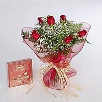 REGALAUNAFLOR-Ramo de 6 rosas rojas naturales y bombones FLORES FRESCAS-ENTREGA EN 24 HORAS DE LUNES A SABADO.