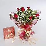 REGALAUNAFLOR-Ramo de 6 rosas rojas naturales y...
