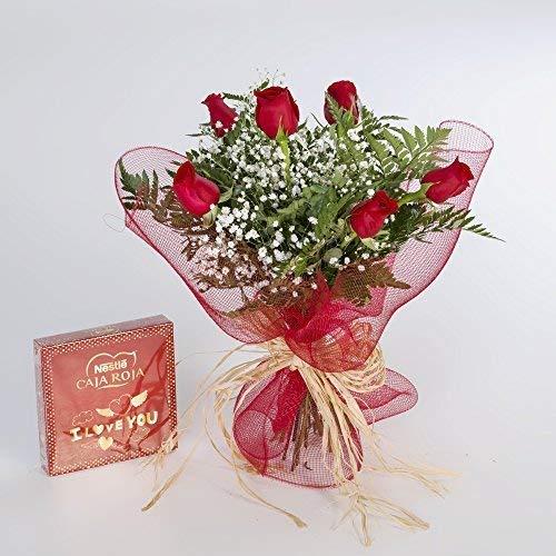 REGALAUNAFLOR-Ramo de 6 rosas rojas naturales y bombones
