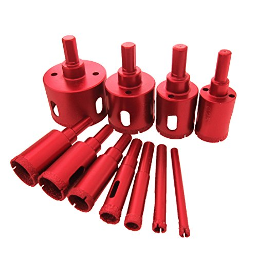 Meccion Diamond Drill Bit Kit Brazing Core Hole Saw Set Extractor Remover Tools Hole Saws Mandrels 6mm - 50mm Set of 11 Pack