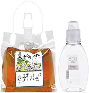 植物油由来成分からできた濃縮自然派洗剤「えがおの力(旧松の力)」2L濃縮/ 詰替ボトル600ml (衣料洗剤用)セット