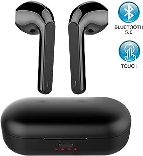 Audífonos inalámbricos, Mini Bluetooth 5.0, auriculares verdaderos auriculares inalámbricos con funda de carga, resistentes al agua, auriculares táctiles para lectura deportiva negro
