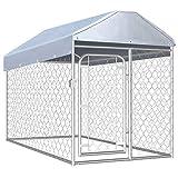 vidaXL Perrera de Exterior con Techo Jaula para Perros Casa Corral de Jardín para Animales Mascotas Malla Valla Acero Galvanizado 200x100x125 cm