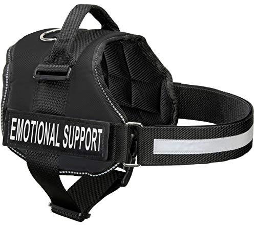 """Emotionale Unterstützung Hundegeschirr mit Reflektierende Gurte, auswechselbare Patches, & Top Mount Griff   7Größen einstellbar   Robuste Konstruktion, Small, Fits Girth 22.5-26"""", schwarz"""