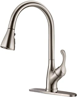 APPASO Pull Down Kitchen Faucet with Sprayer Stainless Steel Brushed Nickel - Single Handle Commercial High Arc Pull Out Spray Head Kitchen Sink Faucets with Deck Plate