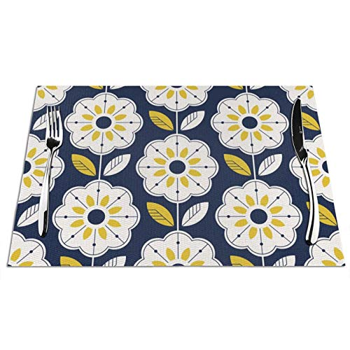 Floral Flower Placemats for Dining Table White Flowers with Yellow Leaves Scandinavian Style with Navy Blue PVC Woven Placemats Vintage Rustic Geometric Texture Heat Resistant Non-Slip