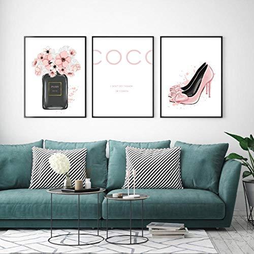 kldfig Nordic parfum fles High Heels muurkunst canvas schilderij Moderne muurschilderijen voor woonkamer Home Decor-40 * 50cm-niet ingelijst-3 stuks