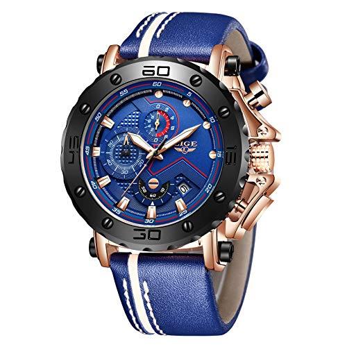 Relojes para Hombres,LIGE Cronógrafo Impermeable Militar Deportivo Reloj Analógico de Cuarzo Correa de Cuero Big Face Fecha Moda Casual Relojes de Pulsera Azul