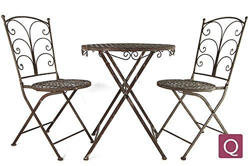 """Countryfield Bistro Tisch + 2 Stühle """"Vito"""" Eisen grau"""