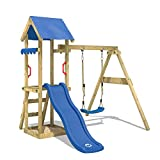 WICKEY Parque infantil de madera TinyWave con columpio y tobogán azul, Torre de escalada da exterior con arenero y escalera para niños