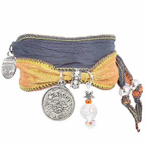 Anisch de la Cara damesarmband kreeft - Signs of Zodiac sterrenbeeld armband van Indiase Saris Signs of Zodiac - artnr. 2260-F