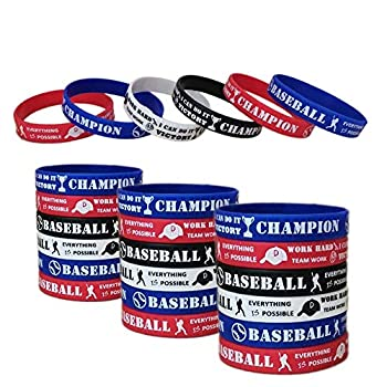 24 PCS Baseball Motivational Silicone Wristband for Kids - Personalized Silicone Rubber Bracelets - Sports Prizes - Party Favors and Supplies - Birthday Party Goodie Bag Stuffers - Carnival/Events