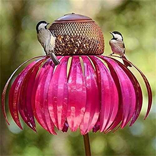 HEHUO Kolibri Feeder, Futterstationen FüR WildvöGel, Rosa Sonnenhut VogelhäUschen, Sensation Pink Coneflower Bird Feeder, Garten Metall Kolibri Feeder 1pcs
