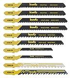 kwb by Einhell Set di 10 lame per seghetto alternativo (10 lame, codolo a T, adatte per legno e metallo, ideali per l'uso con dispositivi a batteria)