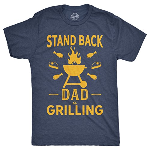 Mens Stand Back Dad is Grilling Tshirt Funny Fathers Day BBQ Tee for Guys (Heather Navy) - XXL