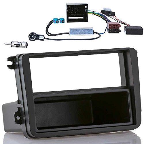 Einbauset mit CAN-Bus Interface für VW Golf 5 6 Passat EOS SKODA SEAT (Radioblende + CAN-Bus Interface / Radioadapter + Doppel Fakra Phantom Antennenadapter)
