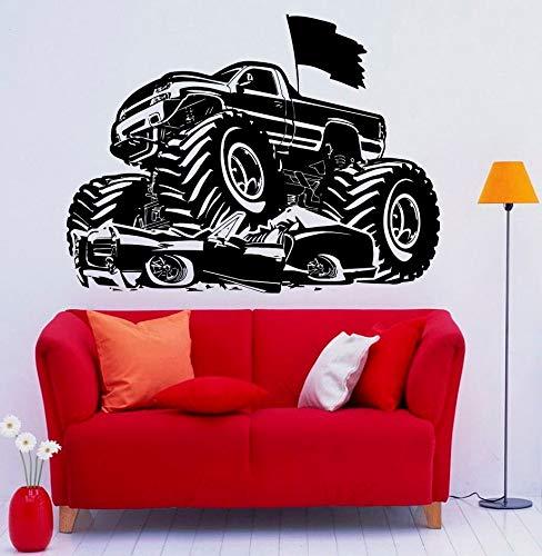 56x76 cm Wandtattoo, Racing Auto Wandbilder Monster Truck Kinder Bett Jungen Für Moderne Aufkleber Poster Hängen Wohnzimmer Aufkleber Dekoration Poster Büro Kindergarten Kunst