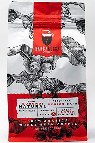 Barbarossa Coffee- Burundi Natural- Medium Dark- Artisan Roasted Whole Coffee Beans- 12 Oz