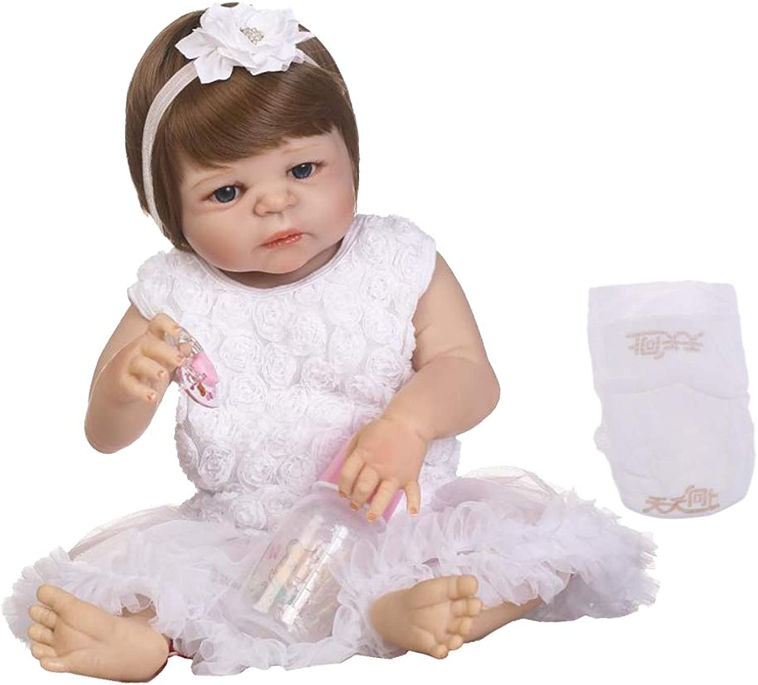 Perfeclan 22inch Realistic Reborn Baby Girl Doll with Short Hair & Floral Dress Kids Sleeping Playmate