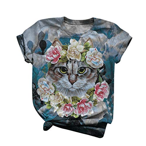JXQ-N Animal Printed Women's T-Shirt Short Sleeved Blouse with Round Neck Blouse(JX210104014)