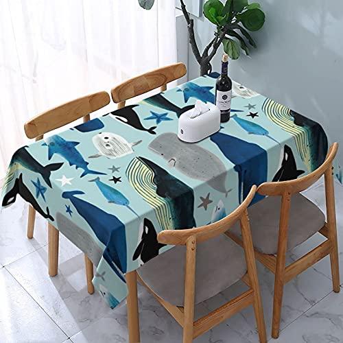 Mantel de Ballenas y Tiburones, mesas rectangulares Reutilizables, Cubierta de Comedor, poliéster, Impermeable, a Prueba de Aceite, Cubierta de Mesa 137X183CM