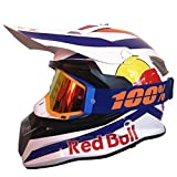 Cascos de Motocross,Cascos Modulares Carcasa de ABS CertificacióN DOT MúLtiples Orificios VentilacióN Bloqueo RáPido Forro ExtraíBle Enviar Gafas Guantes Red Bull A,S
