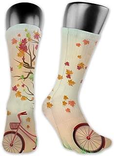 JONINOT, 2 paquetes de calcetines deportivos ligeros y cómodos 40CM novedad divertida arte de papel otoño rojo bicicleta medias largas