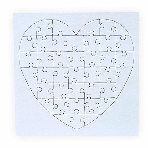 Puzzle zum bemalen Herz 40 Teile 10 Stück zum selbst gestalten mit Rahmen