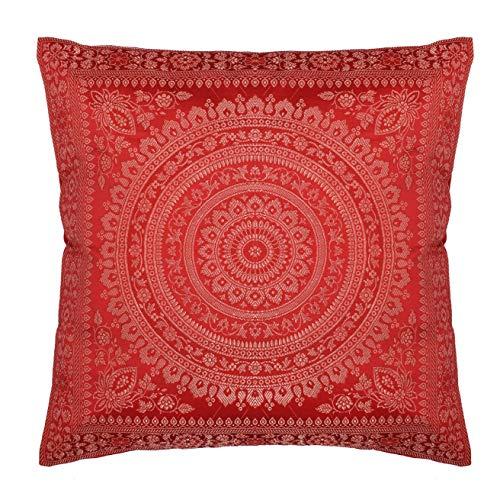 Federa per cuscino decorativa in seta con banarasi indiana etnica in broccato di seta con motivo mandala, realizzata a mano, per divano, divano, 45,7 x 45,7 cm, rosso