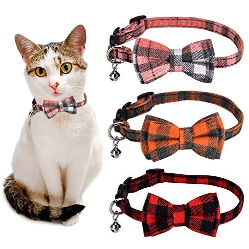 Queta 3 Pack Verstellbares Katzenhalsband mit Schleife, Sicherheitsverschluss und Glöckchen für Welpen und Katzen, Mädchen und Junge Kitten (Orange + Pink + Rot)