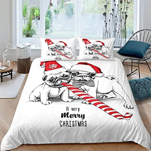 Cartoon Christmas Puppy Funda Nórdica con Estampado 3D Decoración Navideña Juego De Cama De 3 Piezas Funda De Almohada Funda Nórdica Adecuado para Hotel Familiar Dormitorio De Estudiantes