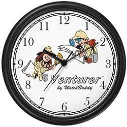 Venturer Man & Woman Wall Clock by WatchBuddy Timepieces (Hunter Green Frame)