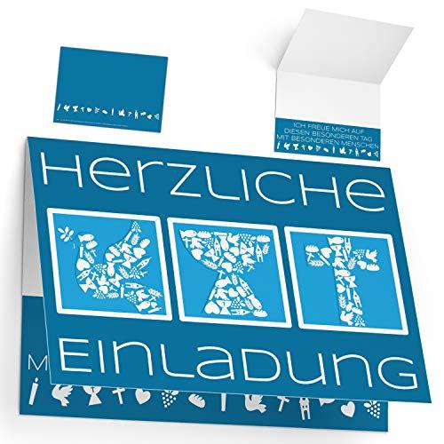 12 Einladungskarten zur Kommunion Konfirmation Taufe Firmung SYMBOLE - edle Premium Klappkarten für Jungen Mädchen Einladung Karten von BREITENWERK