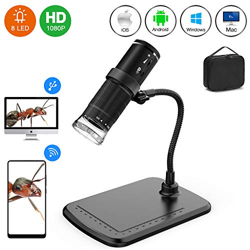 Wireless USB Digital Microscope, 50X-1000X 1080P HD Handheld Portable Mini WiFi Micriscope Camera with Carrying Bag&Stand Compatible with iPhone, iPad, Android,Mac, Windows