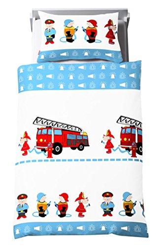 Dream Art Kids Renforce-Kinder-Bettwäsche, Feuerwehr, blau/weiß, 135 x 200 cm inkl. Kissen 80 cm x 80 cm