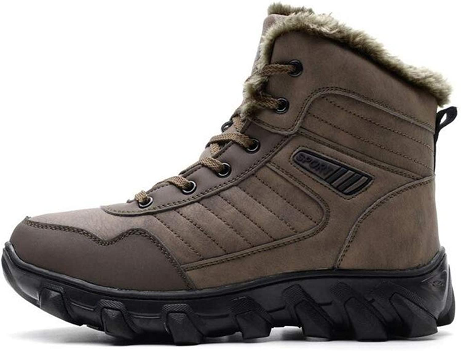 Y-H Men's Snow Boots, Winter Outdoor Hiking shoes, Plus Velvet Warm Climbing Sneakers Skiing shoes Winter Boots (color   Brown, Size   38)