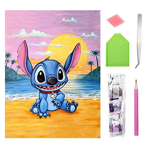 DIY 5D Diamond Painting Kits, BKJJ Full Drill Cartoon Stitch Rhinestone Diamond Painting, Round Full Drill Diamond Art, Full Drill Diamond Painting for Adults and Kids, Relaxation and Home Wall Decor