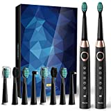 2 Sonic Electric Toothbrushes 5 Modes 8 Brush heads USB Fast Charge Powered Toothbrush Last for 30 Days, Built-in Smart Timer Rechargeable Toothbrushes for Adults and Kids (2 Black) SY-508