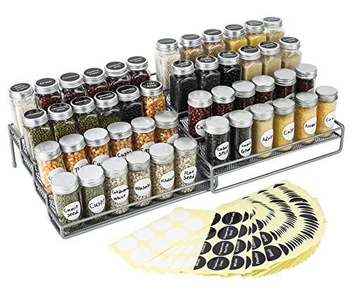 TQVAI 4 Tier Expandable Spice Jars Rack Organizer with 340 Pre-Printed Labels Stickers & 40 Blank Labels, Silver