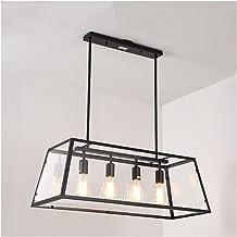 Kitchen American Kitchen Island Chandelier, Rectangular Wrought Iron Hanging Lamp, Retro Acrylic Edison Creative Lighting ...