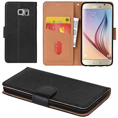 Aicoco Galaxy S6 Hülle Schutzhülle Tasche Flip Case für Samsung Galaxy S6 Handyhülle - Schwarz