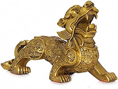"""Large Size Feng Shui Golden Brass Pi Yao/Pi Xiu Wealth Porsperity Statue+ Free Prosperity Protection Set of 10 Lucky Charm Coins,Attract Wealth and Good Luck,Feng Shui Decor,(6.9"""" Lx2.3 Wx5 H)"""