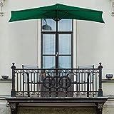 Pure Garden 50-LG1036 Half Round Patio Umbrella with Easy Crank, 9 ft, Hunter