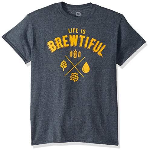 10oz apparel Beer t Shirt Life is Brewtiful … (Dark Heather, XL)