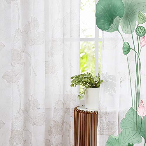Treatmentex Floral Sheer Print Window Curtains 108' Beige Floral Print Curtain Panels Soft Chiffon Drapes with Line Drawing Lotus Design Rod Pocket 55' w x 2 Panels