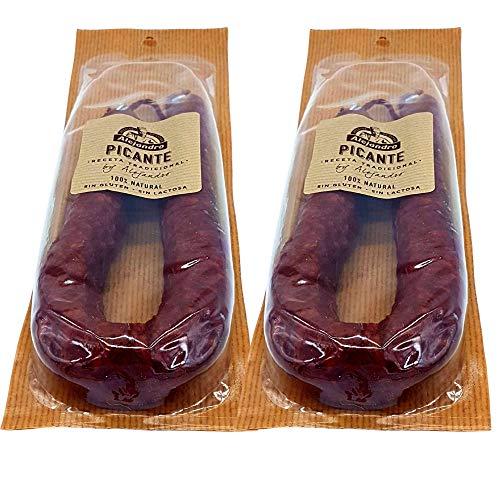 Chorizo Picante Embutidos Alejandro - Lote 2 Chorizos Sin Gluten - Sin Lactosa - Chorizo Picante de la Rioja - Elaborado Artesanalmente con Magros de Primera Calidad