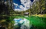 YANCONG Puzzles Adultos 1000 Piezas, Cabaña Forestal En El Lago Ghedina, Italia Rompecabezas De Madera 75X50Cm